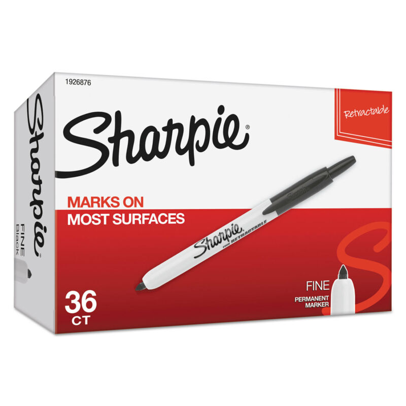 Sharpie Retractable Permanent Marker Fine Black 36 per pack 1926876