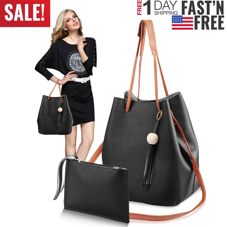 1set 2pcs women leather handbags shoulder bags