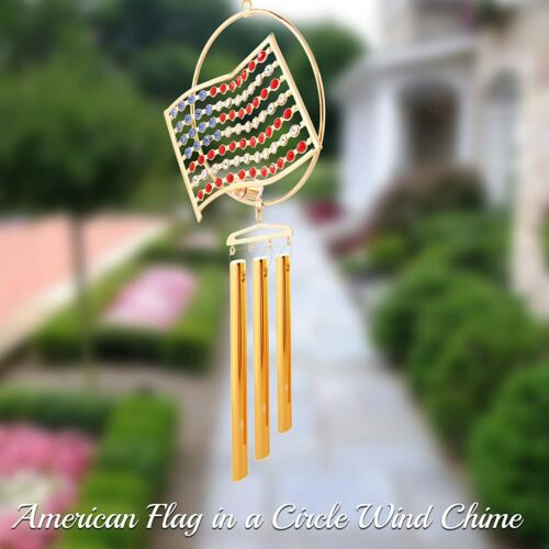 Matashi 24K Gold Plated American Flag Wind Chime with Crystals Gift