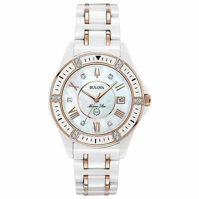 Bulova Women's 17 Diamonds Marine Star White and Rose Gold Ceramic Watch 98R241