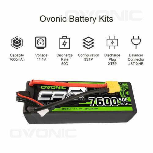 OVONIC 50C 11.1V 7600mAh 3S Lipo Battery Hardcase XT60 Plug