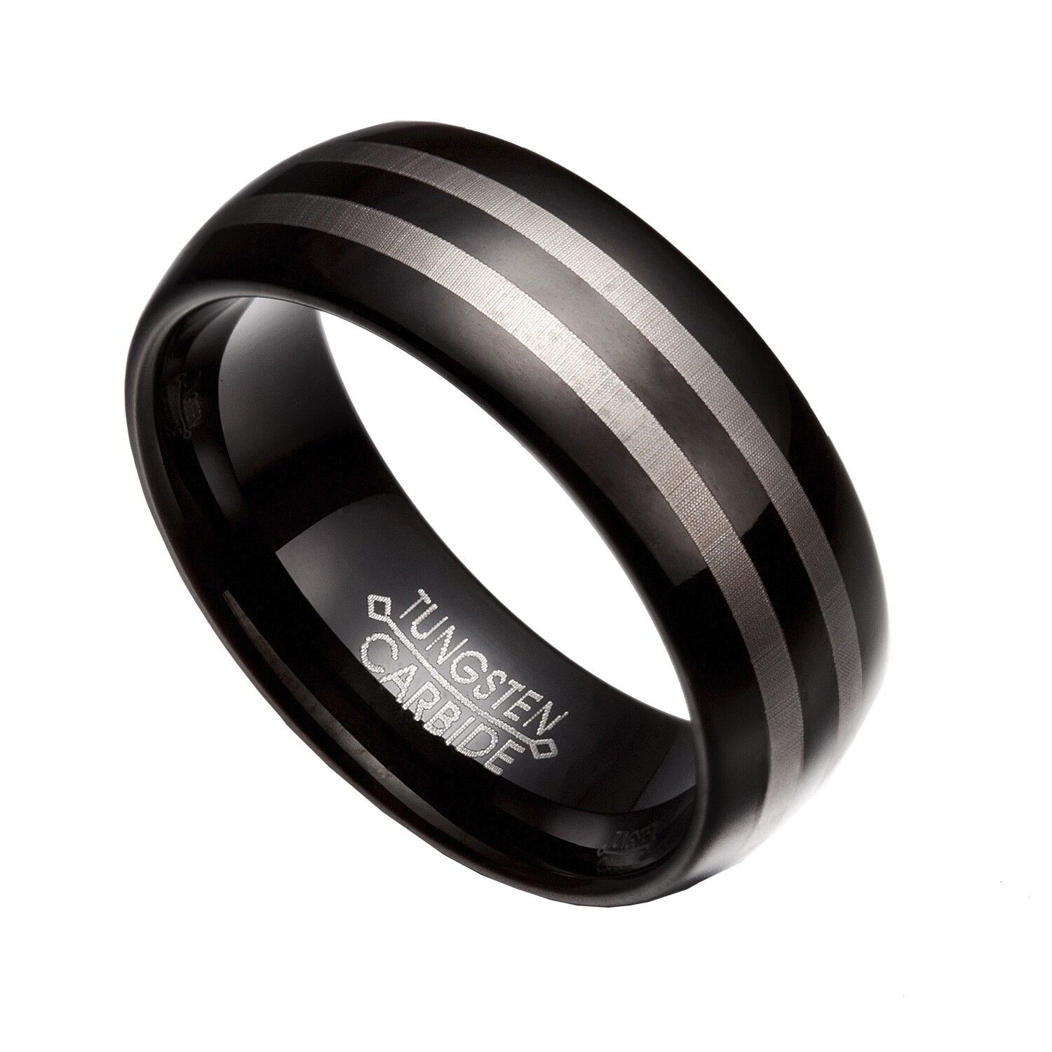 black gray tungsten carbide 8mm comfort fit wedding band rings size 8 14 tg47 ebay. Black Bedroom Furniture Sets. Home Design Ideas