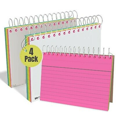1intheoffice Spiral Index Cards 3x5 Neon Lined Ruled Assorted Colors 3 X...