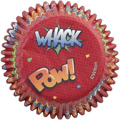 Superhero Whack, Pow, Zap, Zoom, Bam Cupcake Liners - 75 Count - Superhero Pow