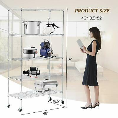Adjustable Wire Shelves With Wheels Kitchen Shelving Chrome 5 Tiers