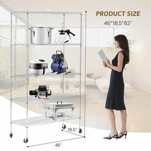 Adjustable Wire Shelves With Wheels Kitchen Shelving Chrome