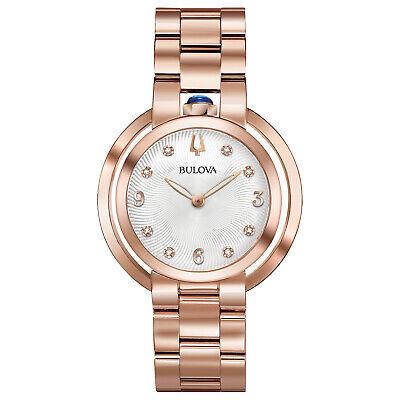 Bulova Women's Quartz Diamond Accent Rose Gold-Tone Bracelet 35mm Watch 97P130