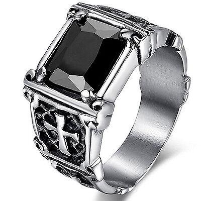 Ring - MENDINO Men's Vintage 316L Stainless Steel Crystal Ring Celtic Cross Band Black