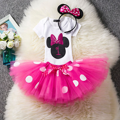 US Stock ! Baby Minnie Mouse Girl 1st First Birthday Tutu Outfit Shirt Set - Baby Minnie First Birthday