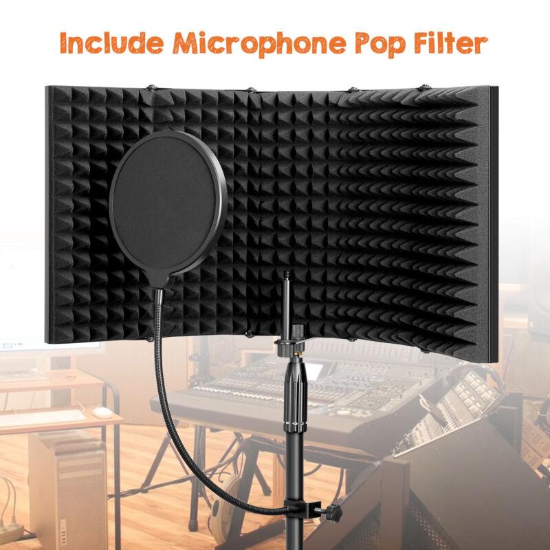 IsolationShield 5Panel Foldable CondenserMicrophoneRecording FoamPopFilter
