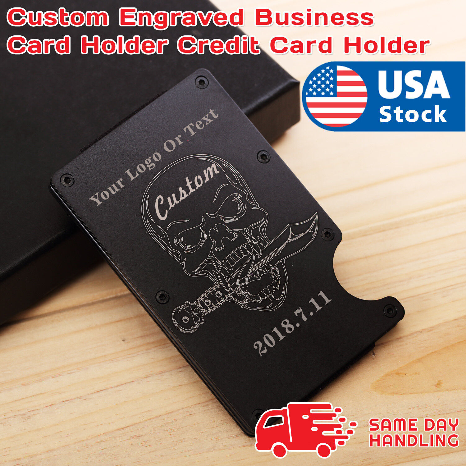 RFID Blocking Slim Money Clip Wallet Credit Card ID Holder for women Men skull Clothing, Shoes & Accessories