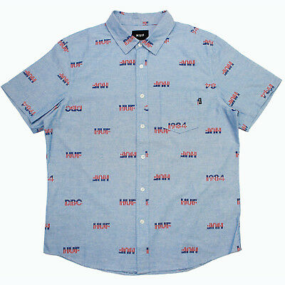 Mens HUF 1984 Chambray Button Front Shirt Blue