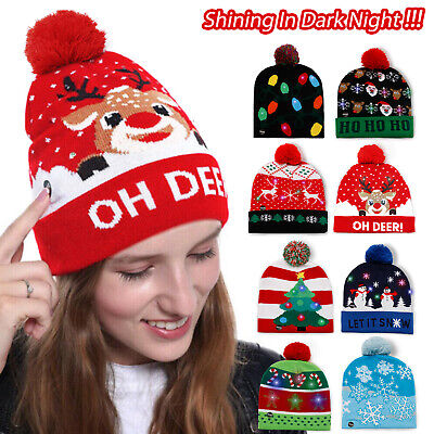 Christmas LED Lights Up Hat Beanie Knitted Santa Ugly Xmas Gifts for Adult Kids ()