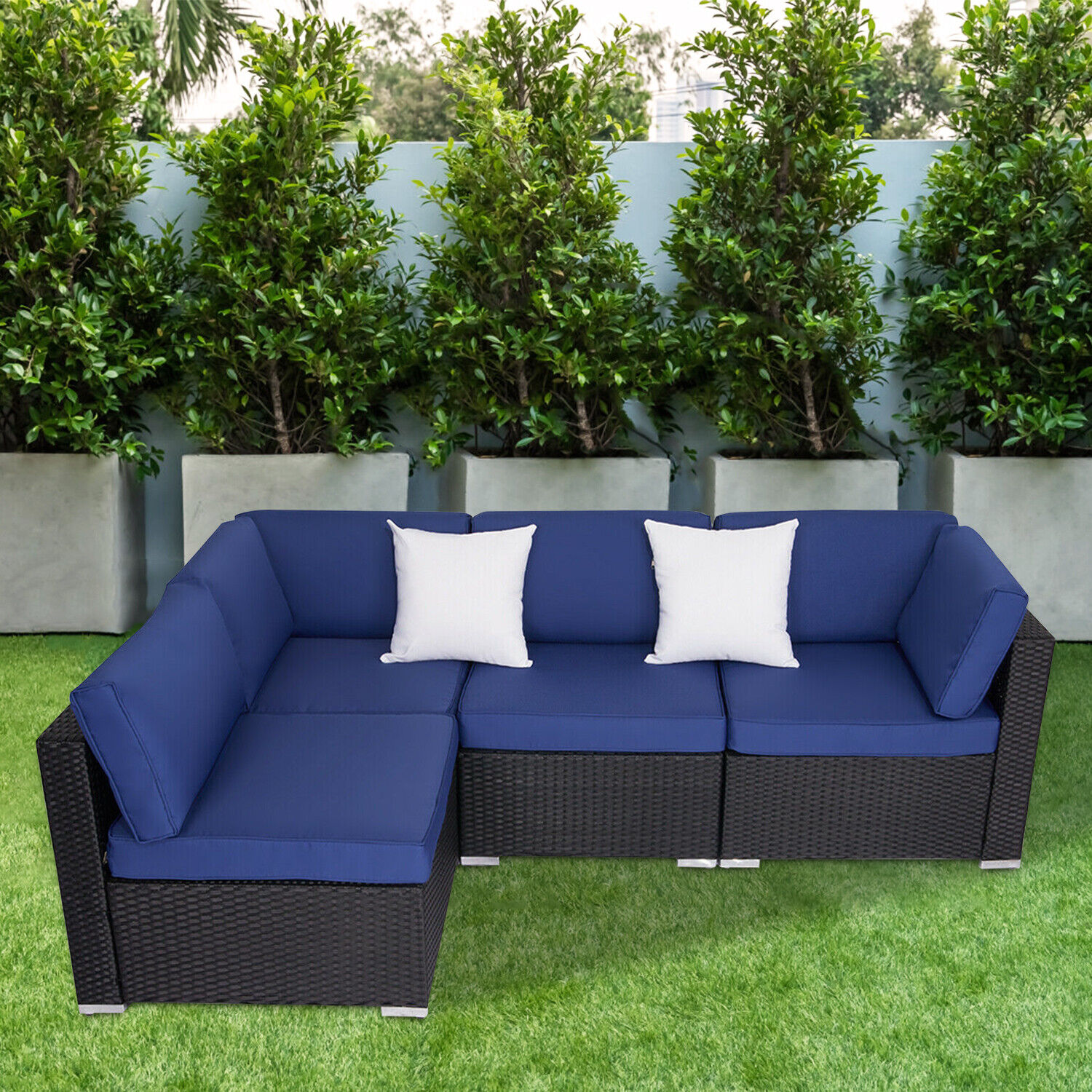 Garden Furniture - 4PC Outdoor Furniture Patio Rattan Wicker Sofa Set Cushioned Couch Seat Garden