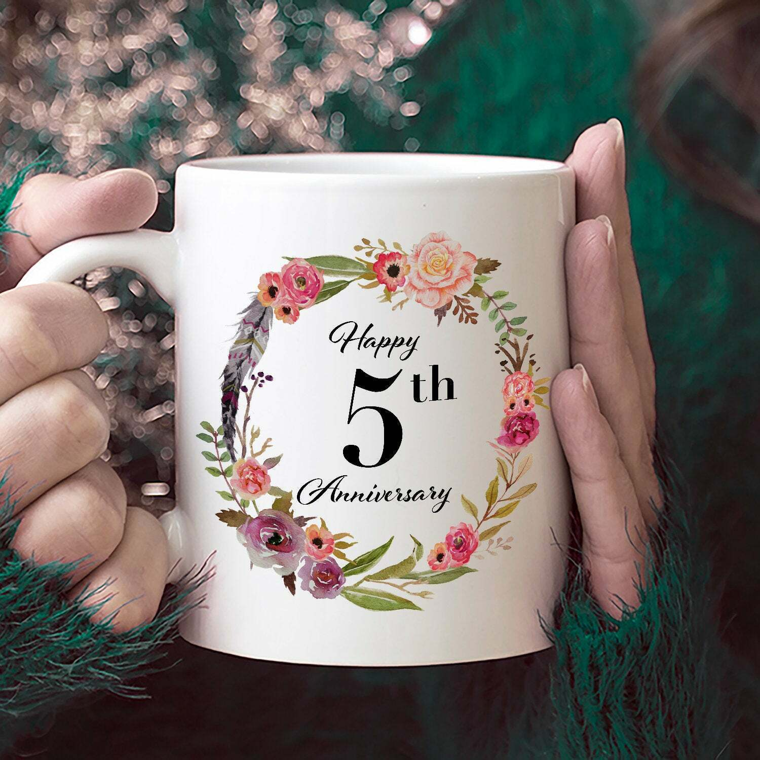 Happy 5th Anniversary Gifts for Her Coffee Mug White Unique