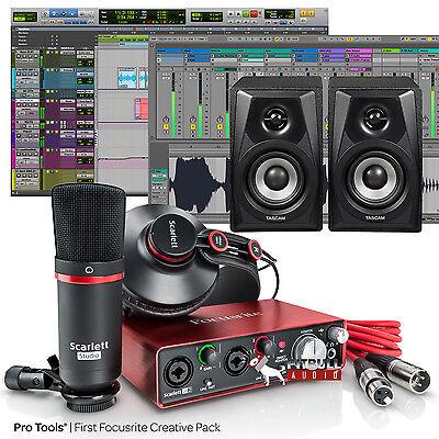 Focusrite Scarlett Studio 2Nd Gen Recording Package Bundle W  Tascam Monitors