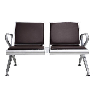 - 2-Seat Waiting Room Bench PVC Garden Salon Barber Airport Reception Steel Brown