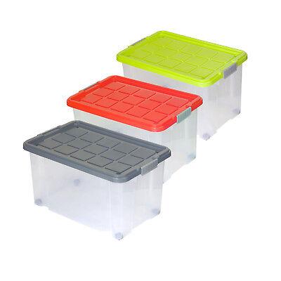 Kunststoff-behälter Mit Deckel (3 Stk. Rival Eurobox Rollen Deckel 60x40x30cm Aufbewahrung Kiste Box Stapelbox)