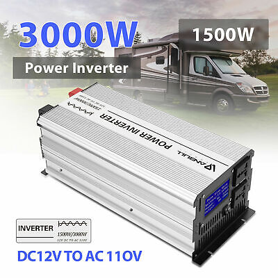 ANBULL Portable Power Inverter 12V/1500W DC to AC Pure Sine Wave ac LCD Display