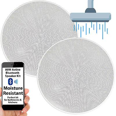 Activo Bluetooth Altavoz de Techo Kit – 13.3cm 80W Humedad Resistente Baño...