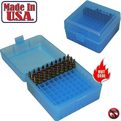 MTM Case Gard 100 Round Ammo Box Rifle 17 204 223 Rem 5.56x 45 Storage Blue New