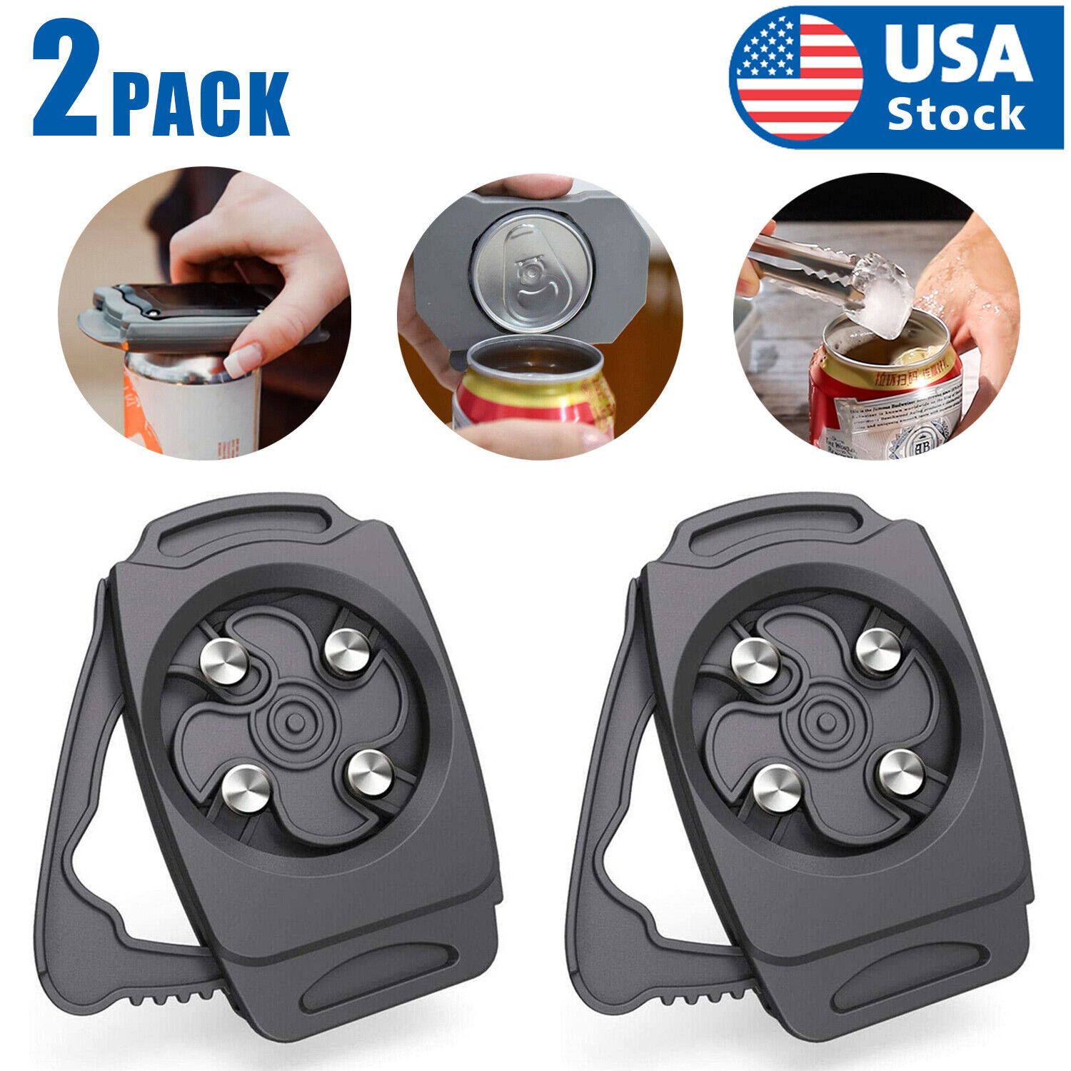 2PCS USA Topless Can Opener Bar Tool Safety Manual Opener Household Kitchen Tool Can Openers (Manual)