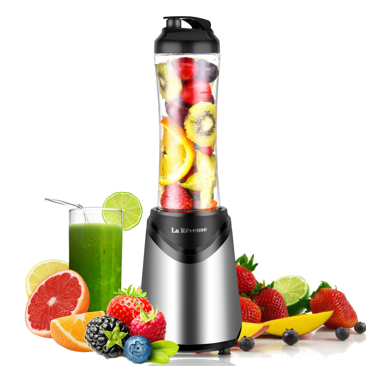 Portable Travel 300W Personal Blender with 18 oz BPA Free Bottle Smoothie Mixer
