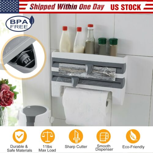 Kitchen Wall-Mounted Paper Towel Holder Cling Film Tinfoil Triple Roll Dispenser