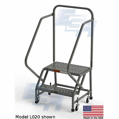 Ega L020 Steel Industrial Rolling Ladder 2-step 24 Wide Perforated Gray 450