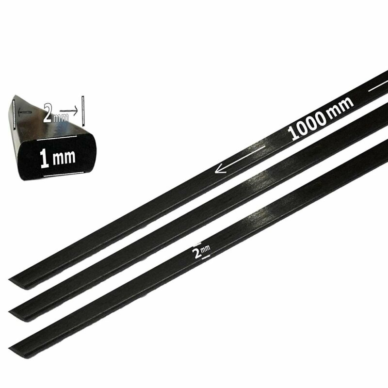 (4) 1mm x 2mm 1000mm - PULTRUDED-Flat Carbon Fiber Bar. 100% Pultruded high...