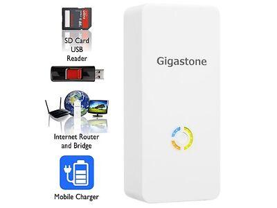 Gigastone Media Streamer Plus + Wireless Card Reader + Media Streamer + WLAN Router + 5200mAh Battery Pack