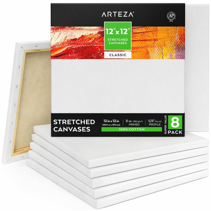 "ARTEZA Stretched Canvas, Classic, 12"" x 12"", Pack of 8"