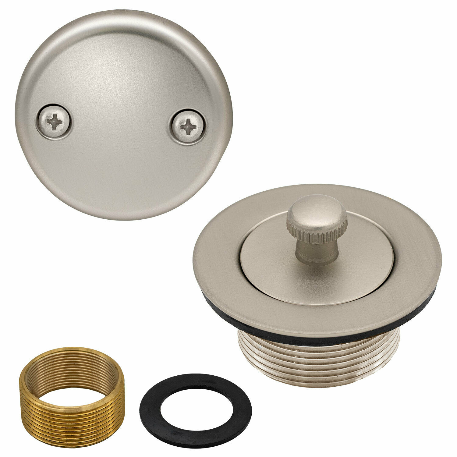 Lift and Turn Bathtub Replacement Tub Drain Overflow Cover Kit in Satin Nickel Bath