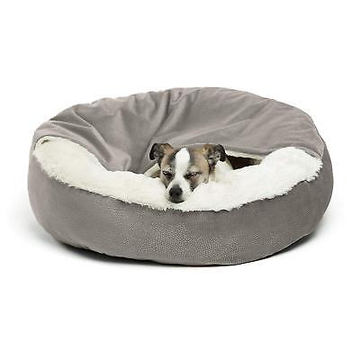 "Best Friends by Sheri Cozy Cuddler Dog Bed  Gray 24"" x 24"" x 7"" Built in Blanket"