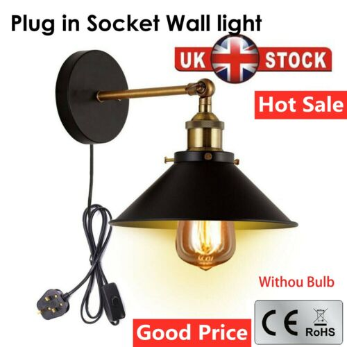 Cool Black Plug In Wall Light Fitting Sconce Lamp Shade Fit Shade Wall Light Ebay