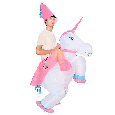 Adult Kid Inflatable Unicorn Costume Blow Up Halloween Party Ride on Suit - Blow Up Costume
