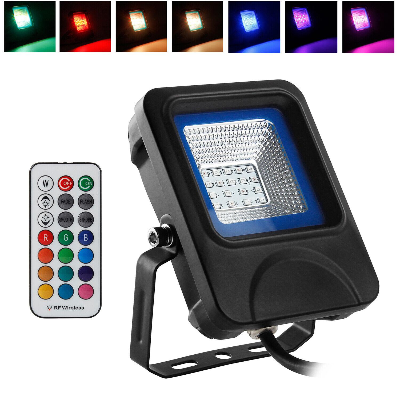 2X 10W RGB LED Fluter Außen Strahler Flutlicht Fernbedienung Dimmbar Light IP65
