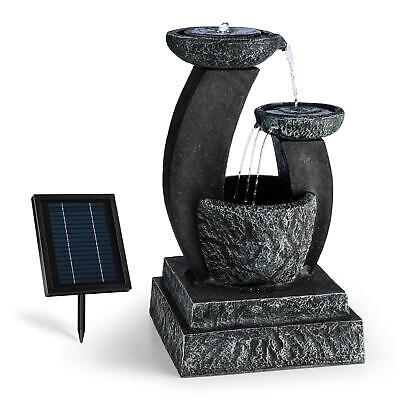 Garden Fountains Water Outdoor Solar Powered Cascade Stone Look Pump LED Light