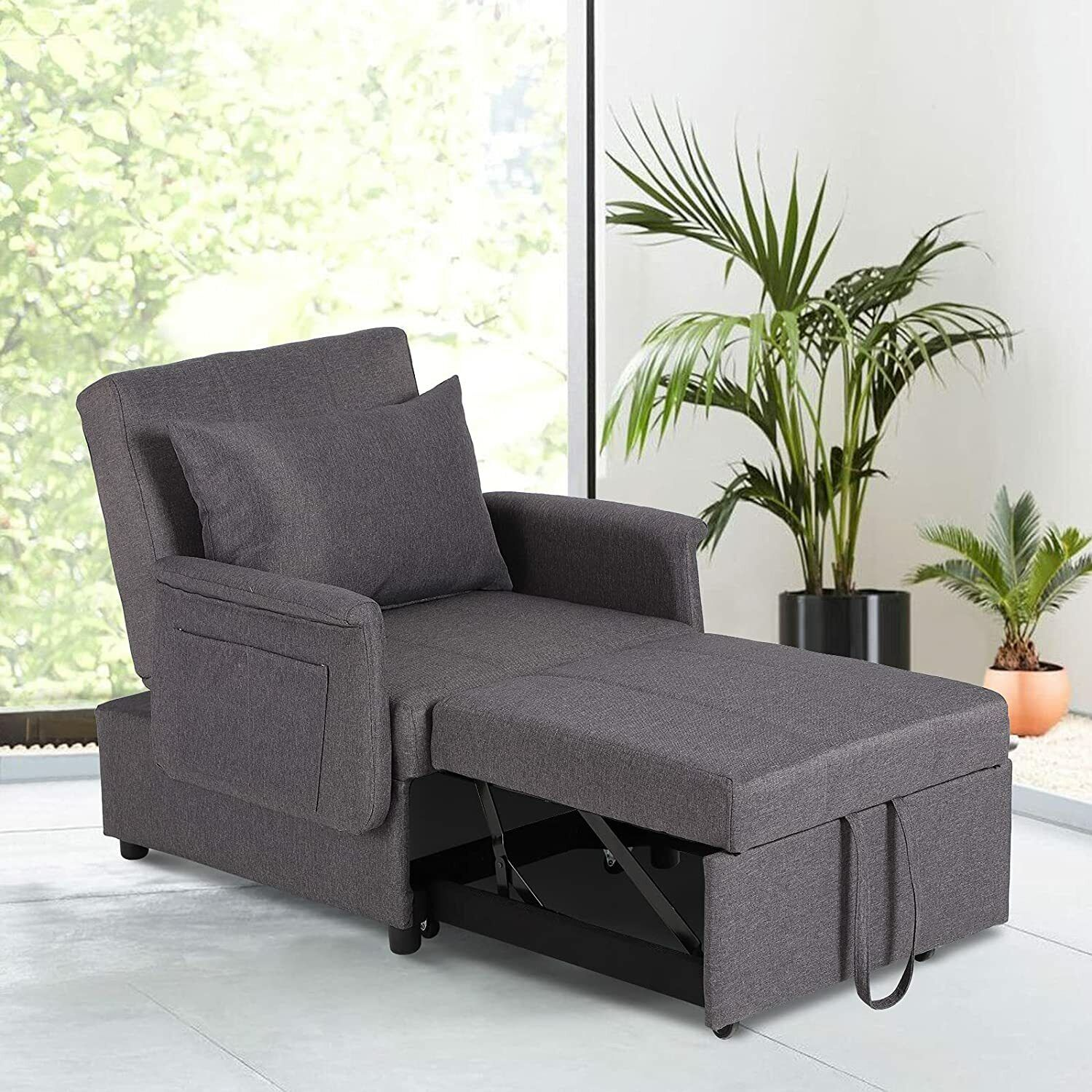 Convertible Sofa Bed 2-in-1 Folding Sleeper Leisure Recliner