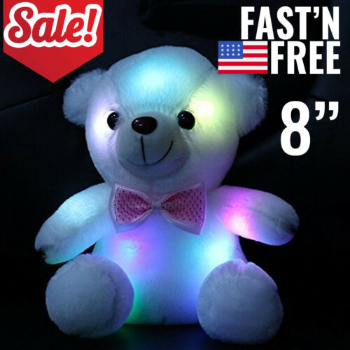 Cute Plush Toys For Girls Baby LED Light Up Stuffed Teddy Bear Kids Xmas Gift US