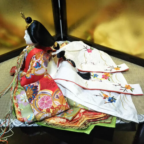 Vintage Japanese Hina doll Princess Queen Kimono Figure Plush EXCELLENT BIG