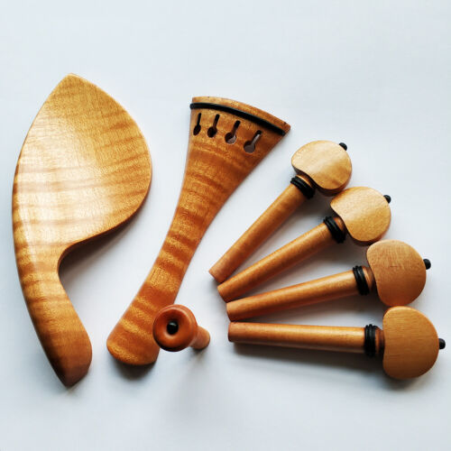 4/4 Size European Maple Wood Violin Fitting Tailpiece Chinrest Pegs Endpin Set