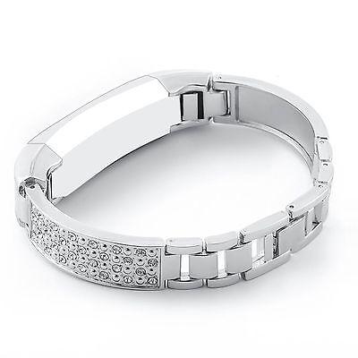 SILVER STEEL RHINESTONE Small Wristband Band Strap Bracelet For FITBIT ALTA & HR