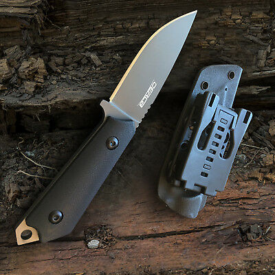 Black Fine Blade - Oerla Field Knife Fixed Blade Fine Edge Blade with G10 Handle and Kydex Sheath