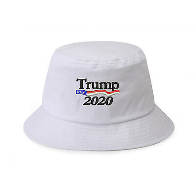 100% Cotton White Bucket Hat Cap Trump with American Flag 2020 Embroidered