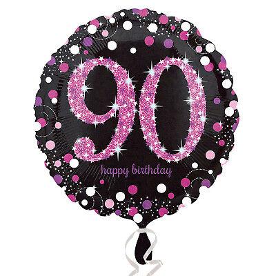 90th Happy Birthday Foil Balloon Black & Pink Party Decorations Age 90](Happy 90th Birthday Decorations)
