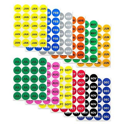 12 Months of the Year Labels Color Coding Dot Round Self Adhesive Stickers (1...