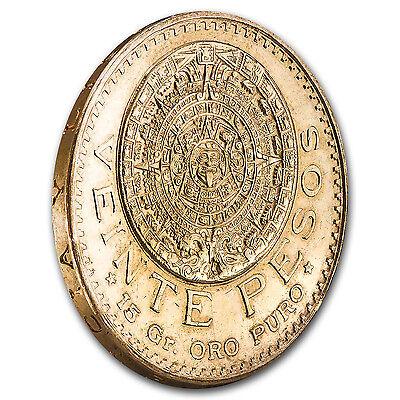 Mexico Gold 20 Pesos AGW .4823 Almost Uncirculated AU (Random Year) - SKU #1044