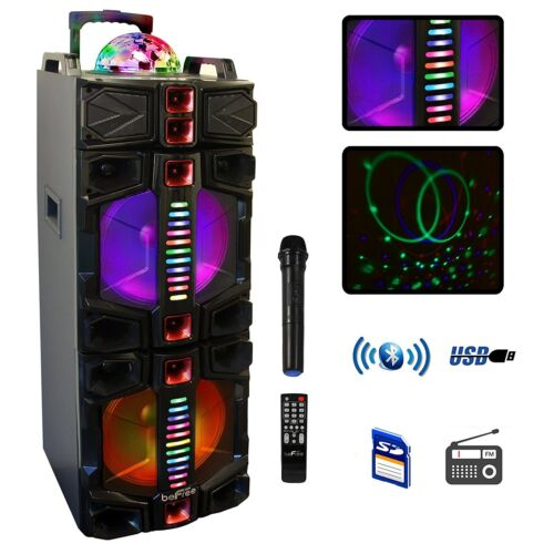 """BEFREE SOUND DUAL 12"""" BLUETOOTH PORTABLE DJ PA PARTY SPEAKER with LIGHTS MIC USB"""