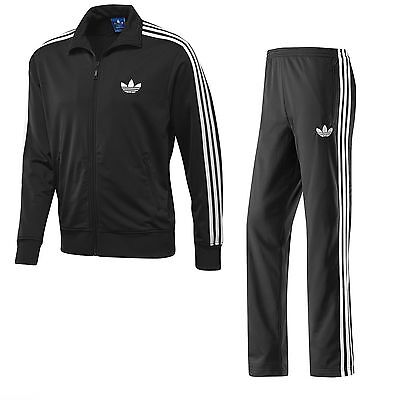 Mens Adidas Originals ADI Firebird Black Tracksuit Track Jacket Top Pant Fleece -